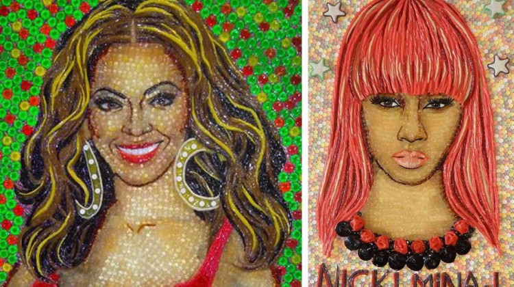 Portraits of Beyonce and Nicki Minaj made of candy.