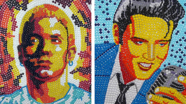 Portraits of Eminem and Elvis made of candy.
