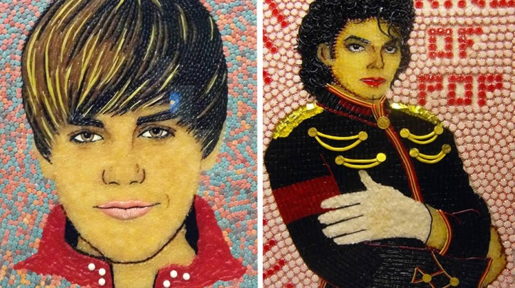 Portraits of Justin Bieber and Michael Jackson made of candy.