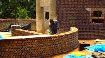 Nigeria house made of bottles.