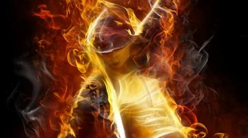 woman in fire