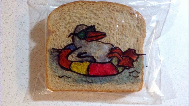 bird on bread