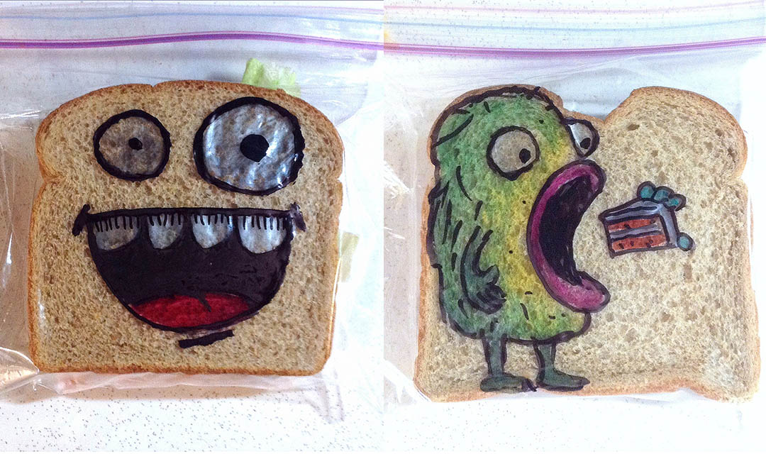 drawing on bread