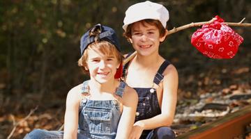 children in overalls
