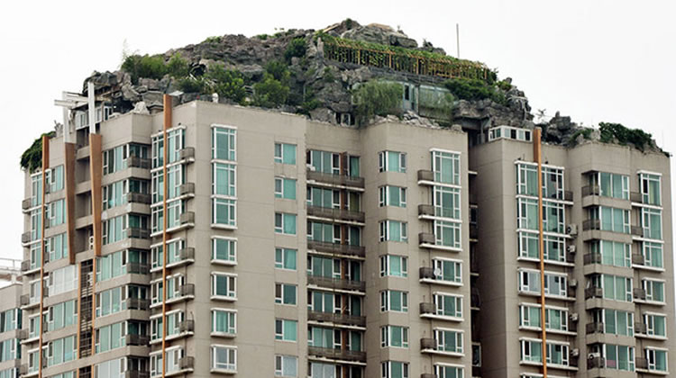 mountain on top of building