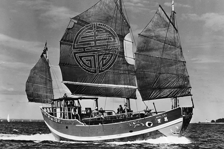 "1946 - Purchased Chinese Junk ""The Mon Lei"""