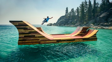 bob burnquist dreams big, his large skate ramp floating in Lake Tahoe