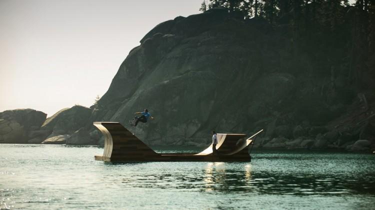 Floating Skateboard Ramp Lake Tahoe