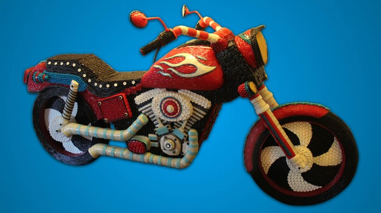 Full size Harley made entirely with 25,000 varied candies