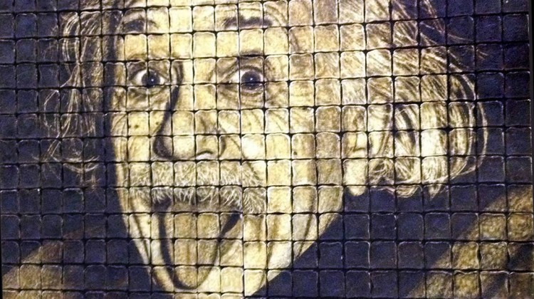 8ft portrait of Einstein made with toast