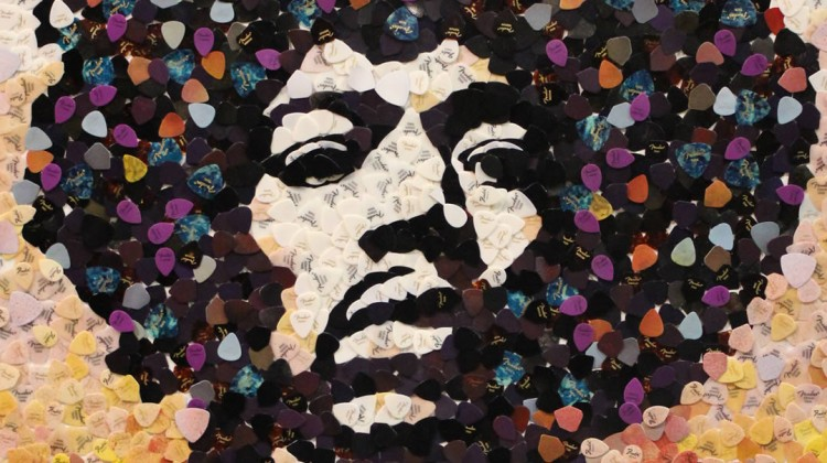 Jimi Hendrix made from guitar picks