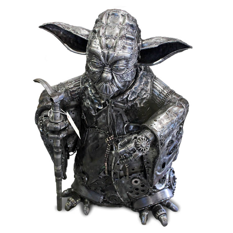 Used car parts Yoda sculpture