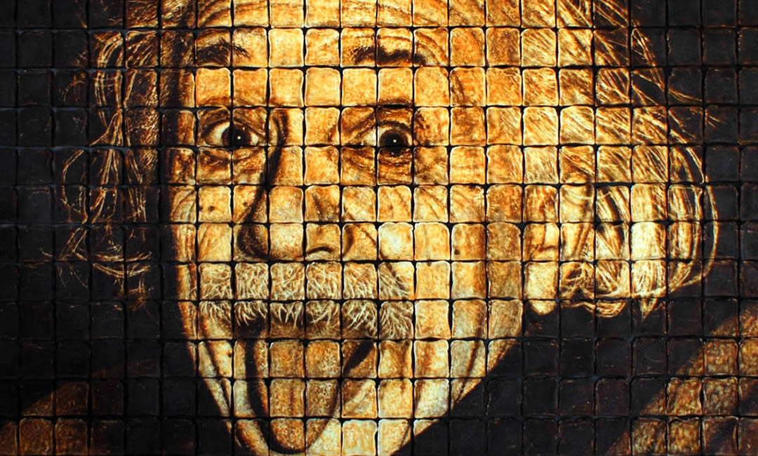 Einstein made from 440 pieces of toast