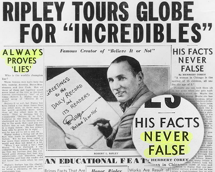 Ripley tours the world for