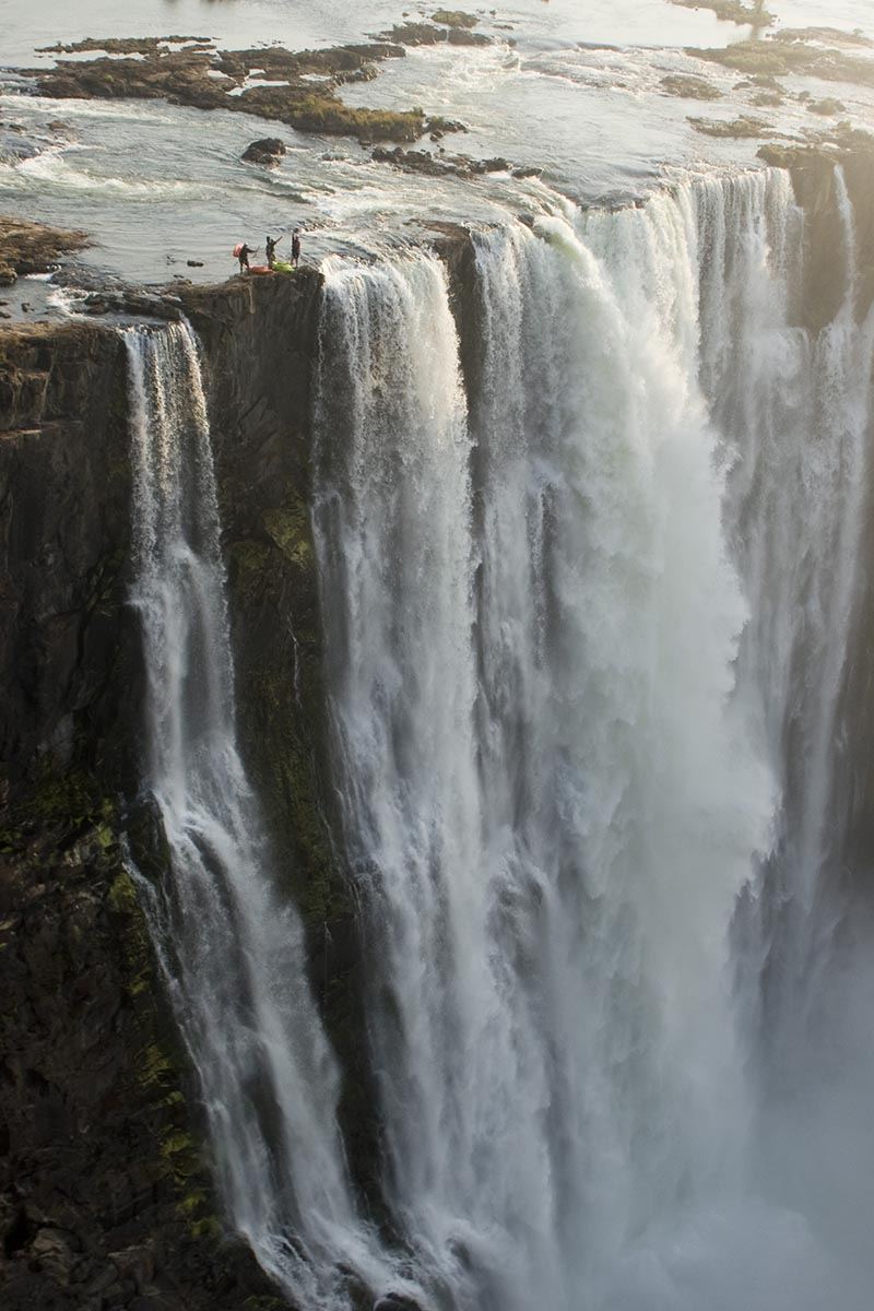Looking 350 ft. down. No one has ever survived a fall down Victoria Falls.