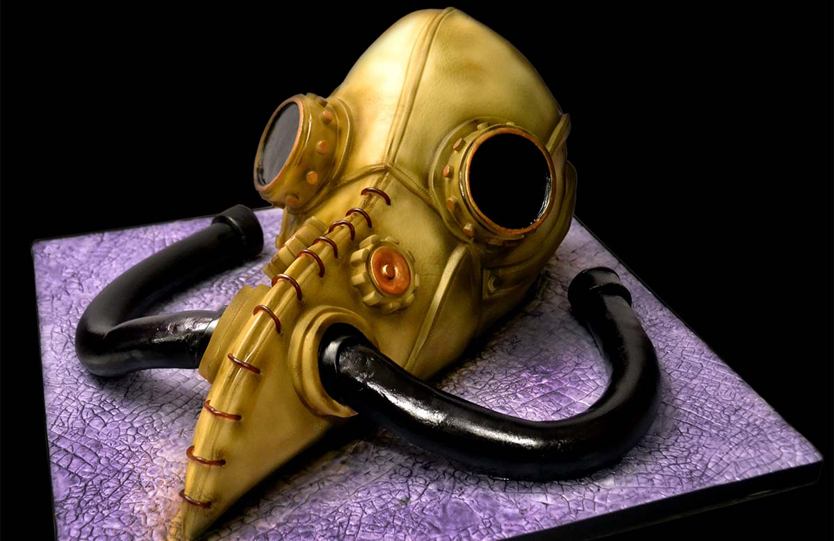 plague doctor gasmask cake 2