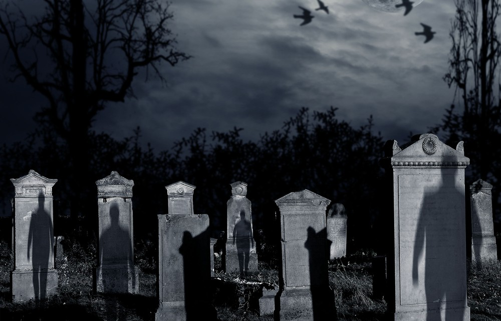 shadows in cemetery