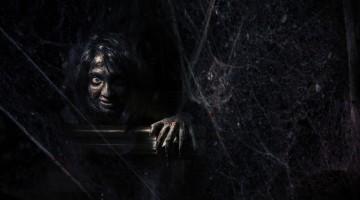 creepy girl in dark