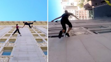 Amazing Performers Dance On the Outside of a Skyscraper