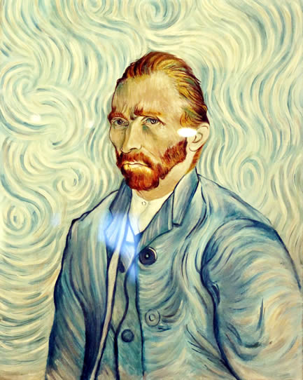 Replica of Van Gough's famous self-portrait created using nail polish. On display at our Orlando Odditorium.