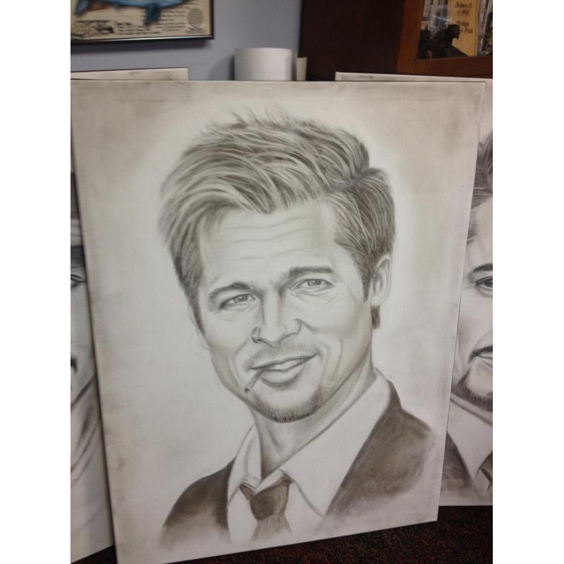 Cigarette Ash Portrait: Brad Pitt by Wilmer Lam