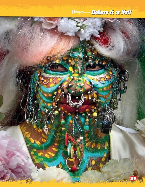 pierced and painted face