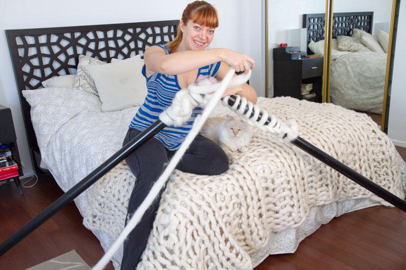 Large Knitting Needles And Wool Uk : Knitting with foot long needles