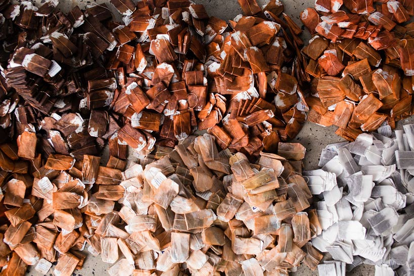 More than 20,000 tea bags were dyed, sorted, and hung!