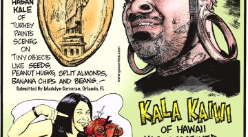 Kala Kaiwi of Hawaii has stretched ears that are 4.3 inches in diameter—the largest in the world! -------------------- Jamie Jackson, 37, of Salt Lake City, UT, has caught 46 bridal bouquets since 1996—and is still single! -------------------- Artist Hasan Kale of Turkey paints scenes on tiny objects like peanut husks, split almonds, banana chips, and beans! (From Madelyn Corcoran, Orlando, FL)