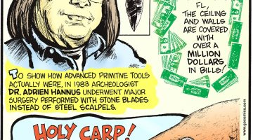To show how advanced primitive tools actually were, in 1983 archeologist Dr. Adrien Hannus underwent major surgery performed with stone blades instead of steel scalpels. In McGuire's Irish Pub in Pensacola, FL, the ceiling and walls are covered with over a MILLION dollars in bills! At Teller Lake in Boulder, CO, domestic goldfish have taken over—multiplying by the thousands!