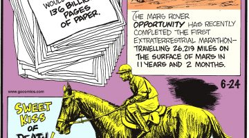 According to the University of Leicester, printing the entire Internet would require 68 BILLION pages of paper. In 1923, Sweet Kiss, ridden by Frank Hayes, came in first—but Hayes' heart beat its last before they crossed Belmont Park's finish line, making him the only jockey to win posthumously. The Mars rover Opportunity has just completed the first extraterrestrial marathon— traveling 26.219 miles on the surface of Mars in 11 years and 2 months!