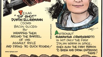 """Astronaut Samantha Cristoforetti is not only the first Italian woman in space, she's also the first person to brew and drink an espresso there! Beating 1:11.2 million odds, quadruplet calves were born alive and healthy on March 16, 2015, on Dora and Jimmy Barling's DeKalb, TX farm. Texas """"Top Shot"""" Dustin Ellermann cooks bacon slices by wrapping them around the barrel of his assault rifle and firing 90 quick rounds!"""
