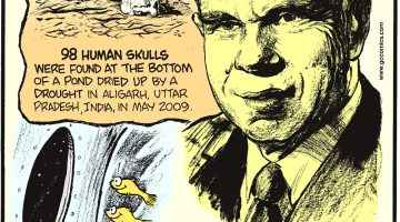 98 human skulls were found at the bottom of a pond dried up by a drought in Aligarh, Uttar Pradesh, India, in May 2009. American atomic scientist Glenn Seaborg was the only man who could write his address in the form of chemical elements – Seaborgium, Lawrencium, Berkelium, Californium, Americium standing for Seaborg, Lawrence Laboratory, Berkeley, California, USA. (Submitted by Jaideep Moghe, Nagpur, India) South American guppies were the first fish to be sent to space!