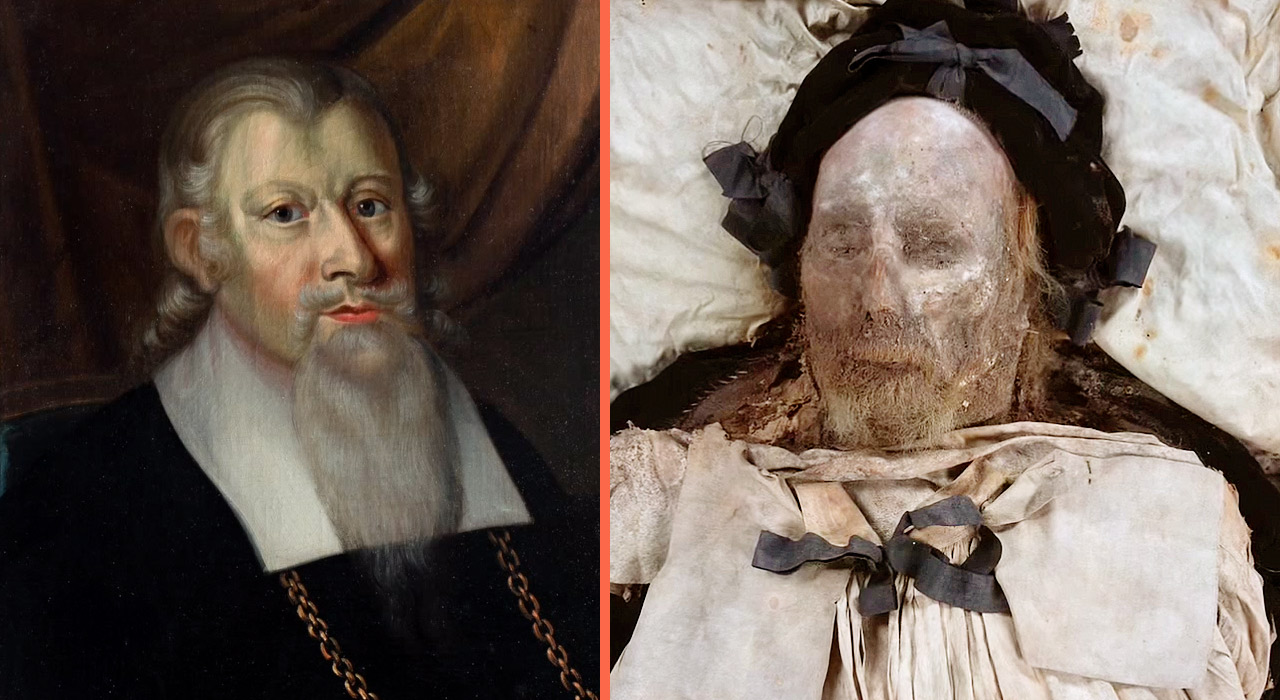 Lund's Mummy Side by Side with his Portrait