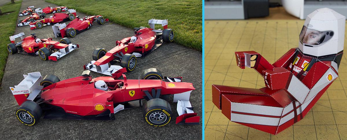 Papercraft Ferrari F1 & Driver