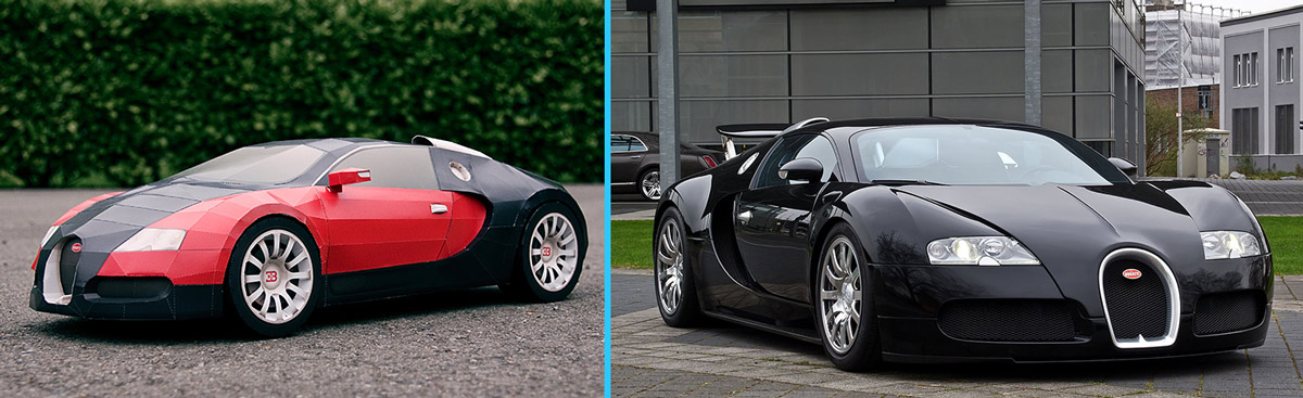 Papercraft Veyron vs The Real One