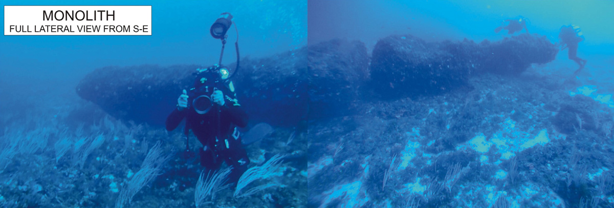 Full Stitched View of Underwater Ancient Monolith