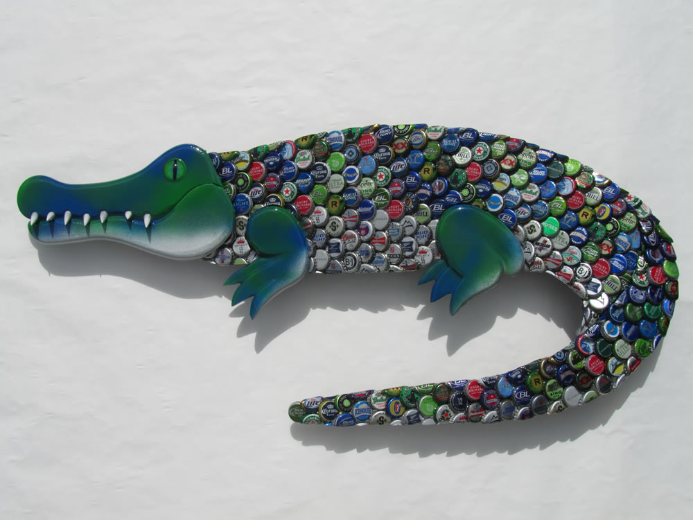 Alligator from mixed beer caps.