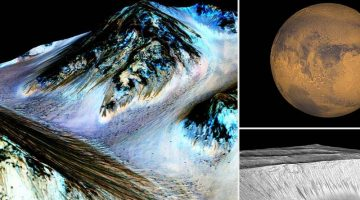 Mars Photos of Water Scoring Where Water is Flowing Provided by NASA