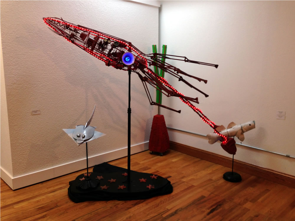 Squid made with scrap metal and energy efficient lights.