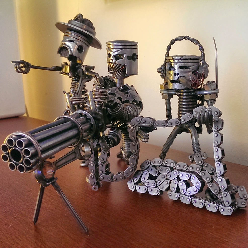 This piece is made out of parts from three scrap engines and other pieces of scrap metal.