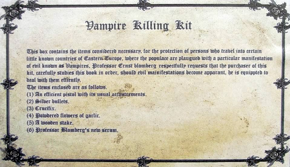 Vampire Killing Kit Label