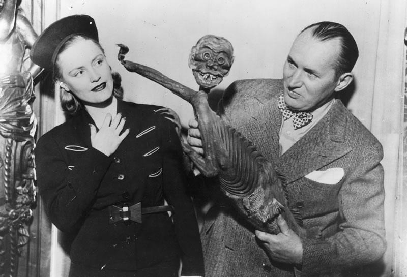 Robert Ripley with a Fiji Mermaid