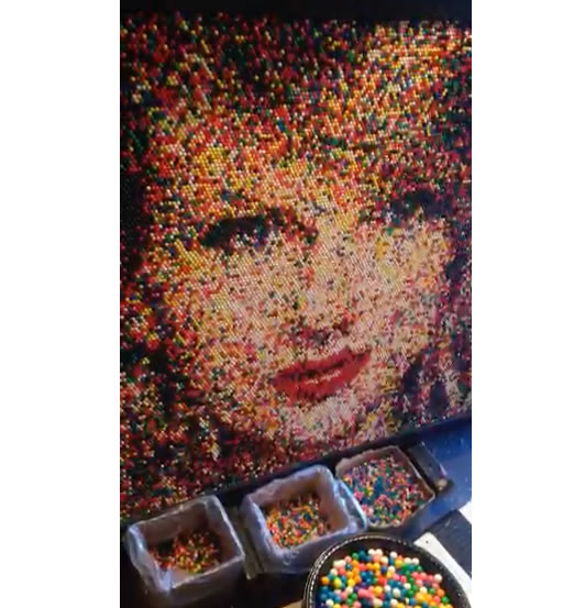 Large portrait pf Taylor Swift made from 17,625 gum balls.
