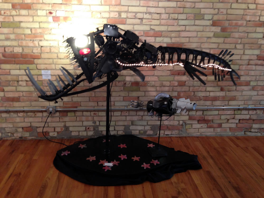 Loose Jaw Fish made with scrap metal and energy efficient lights.