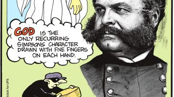 "God is the only recurring Simpson's character drawn with five fingers on each hand. -------------------- Cheese is the most stolen food in the world! -------------------- American Civil War general Ambrose Everett Burnside's unique facial hair inspired the term ""sideburns""."
