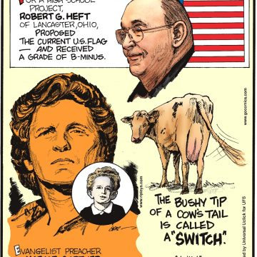 """For a high school project, Robert G. Heft of Lancaster, Ohio, proposed the current US flag—and received a B-minus. -------------------- Evangelist preacher Marjoe Gortner of Long Beach, California, performed his first marriage in 1949—at age 4! -------------------- The bushy tip of a cow's tail is called a """"switch"""". Submitted by Richard Gibson, Lafayette, LA."""