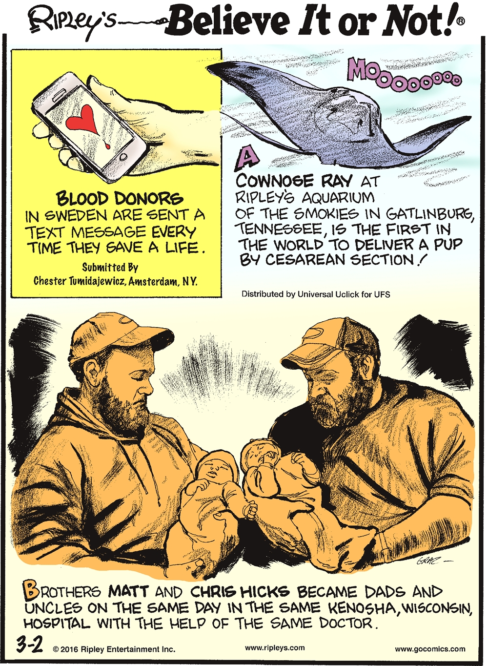 Blood donors in Sweden sent a text message every time they gave a life. Submitted by Chester Tumidajewicz, Amsterdam, NY. -------------------- A cownose ray at Ripley's Aquarium of the Smokies in Gatlinburg, Tennessee, is the first in the world to deliver a pup by cesarean section! -------------------- Brothers Matt and Chris Hicks became dads and uncles on the same day in the same Kenosha, Wisconsin, hospital with the help of the same doctor.