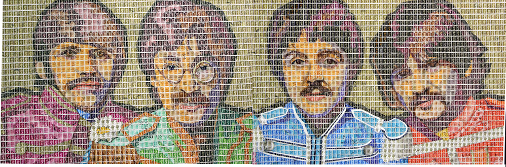 Sgt. Pepper Stamp Art by artist Peter Mason, on display at our London Odditorium