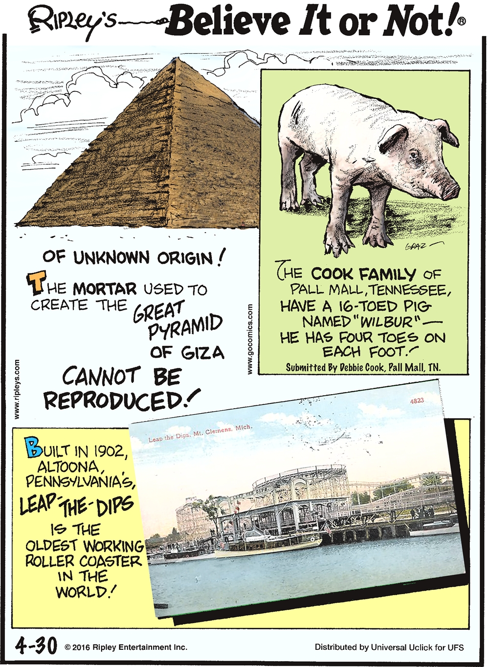 "Of unknown origin! The mortar used to create the Great Pyramid of Giza cannot be produced! -------------------- The cook family of Tennessee, have a 16-toed pig named ""Wilbur""—he has four toed on each foot! Submitted by Debbie Cook, Pall Mall, TN. -------------------- Built in 1902, Altoona, Pennsylvania's, Leap-the-Dips is the oldest working roller coaster in the world!"